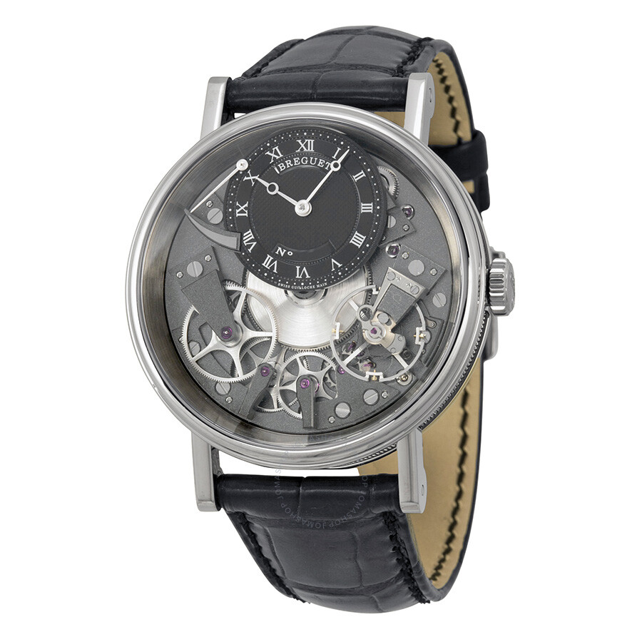 Pre-owned Breguet Tradition Black and Grey Skeleton Dial 18kt White Gold Bla..