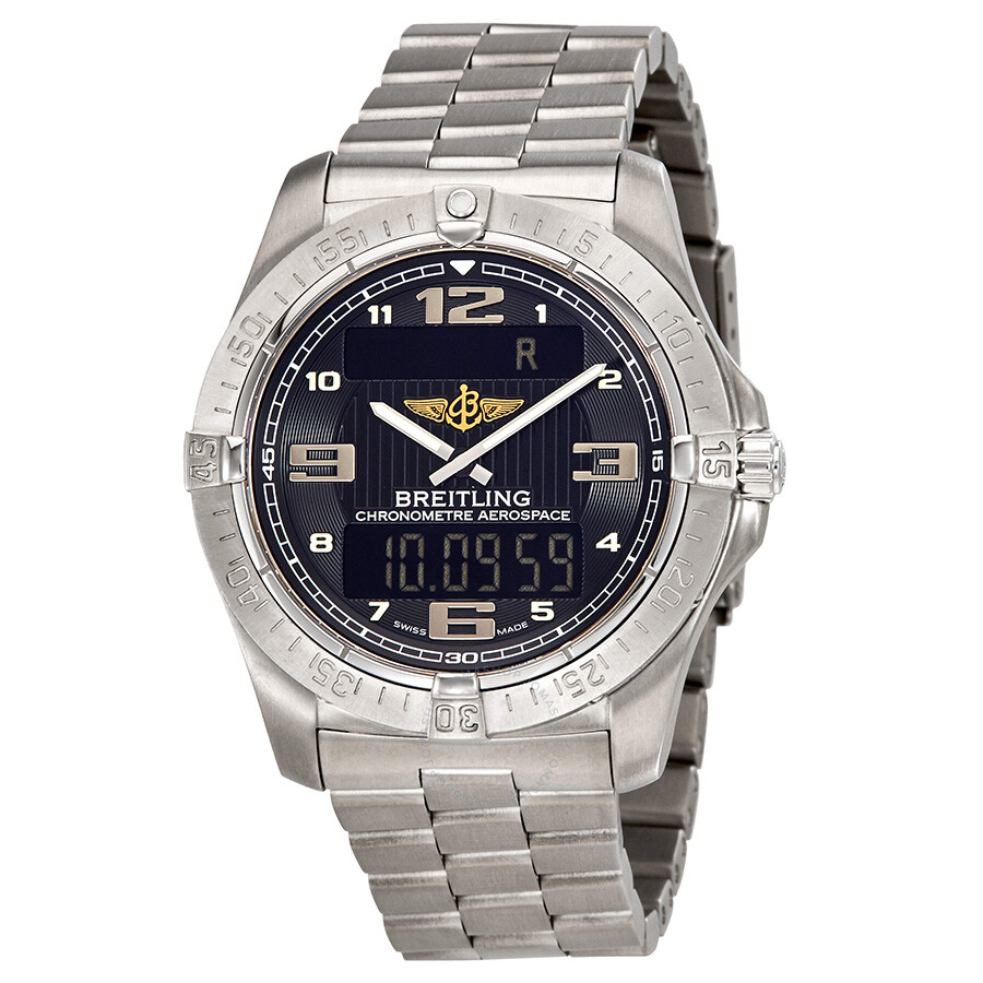 Pre-owned Breitling Aerospace Advantage Black Dial Titanium Mens Watch E7936..
