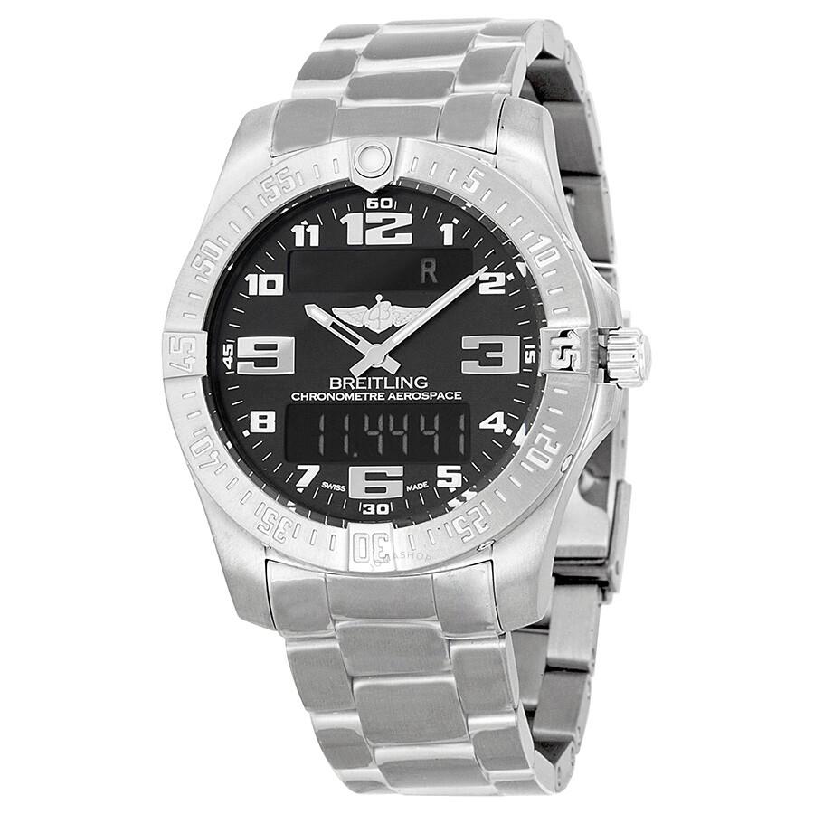 Pre-owned Breitling Aerospace Evo Black Dial Titanium Mens Watch E7936310-BC..