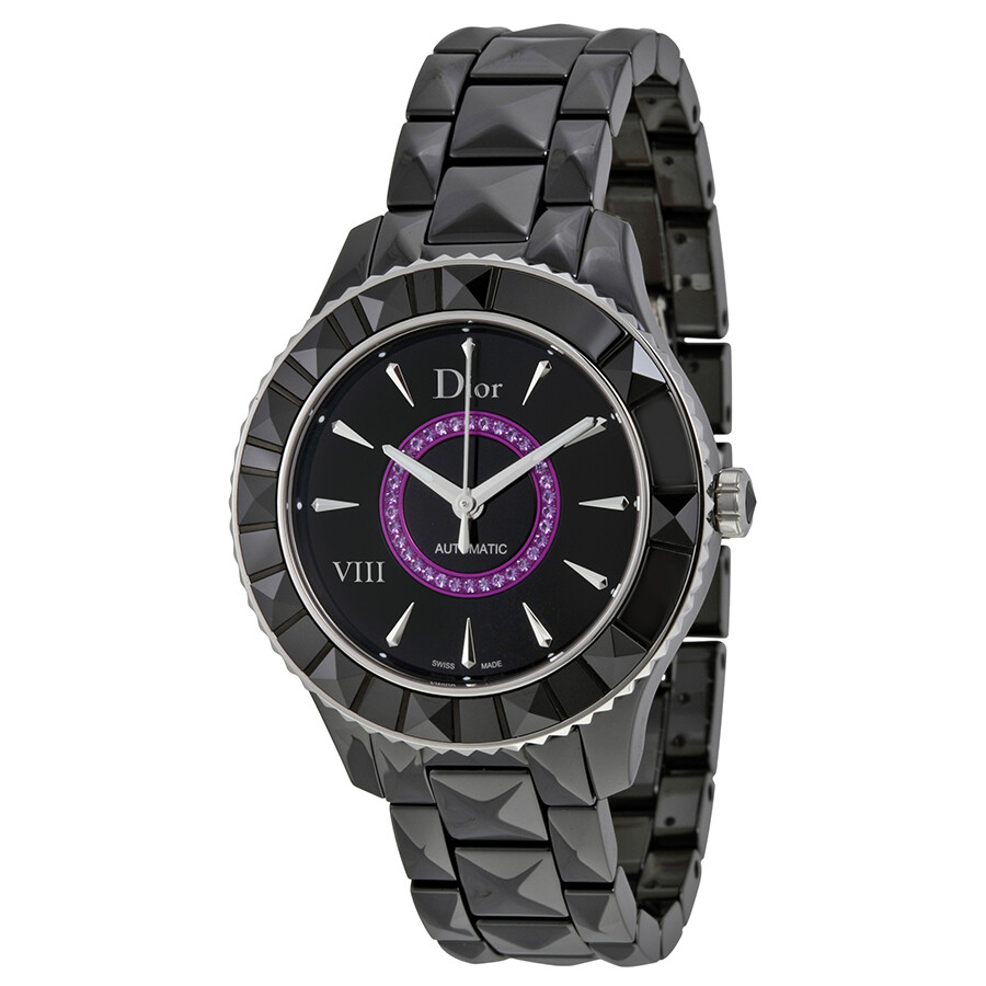 Pre-owned Dior VIII Black Dial Black Ceramic Ladies Watch CD1245E7C001