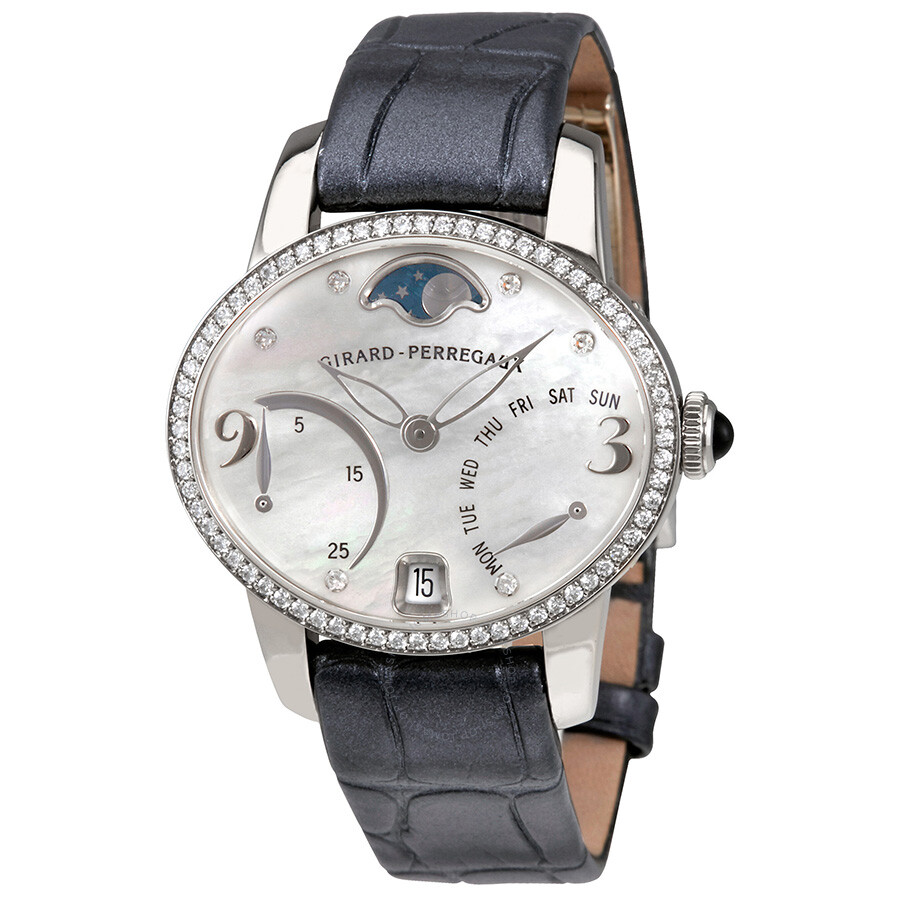 Pre-owned Girard Perregaux Cats Eye Mother of Pearl Diamond 18K White Gold A..