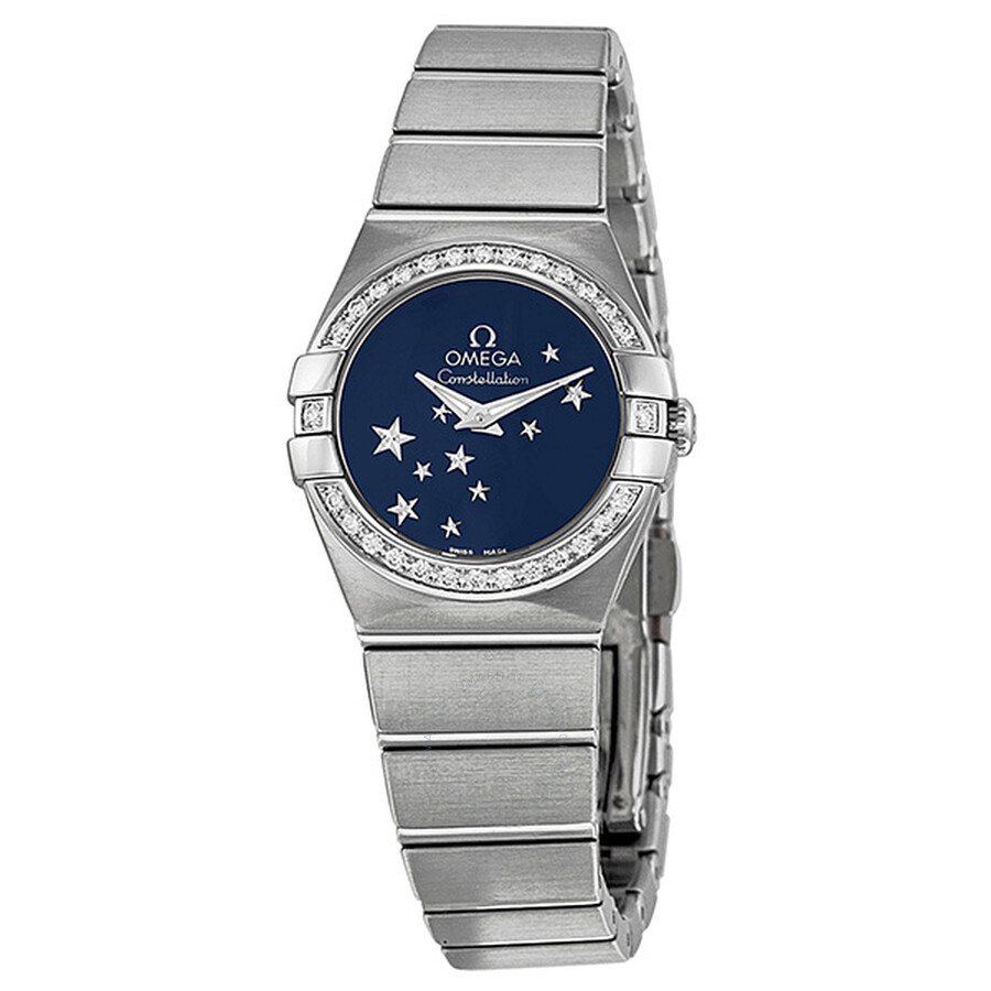 Pre-owned Omega Constellation Diamond Blue Star Dial Stainless Steel Ladies ..