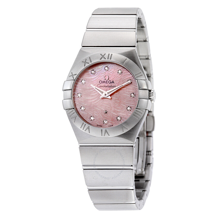 Pre-owned Omega Constellation Light Coral Mother of Pearl Stainless Steel Qu..