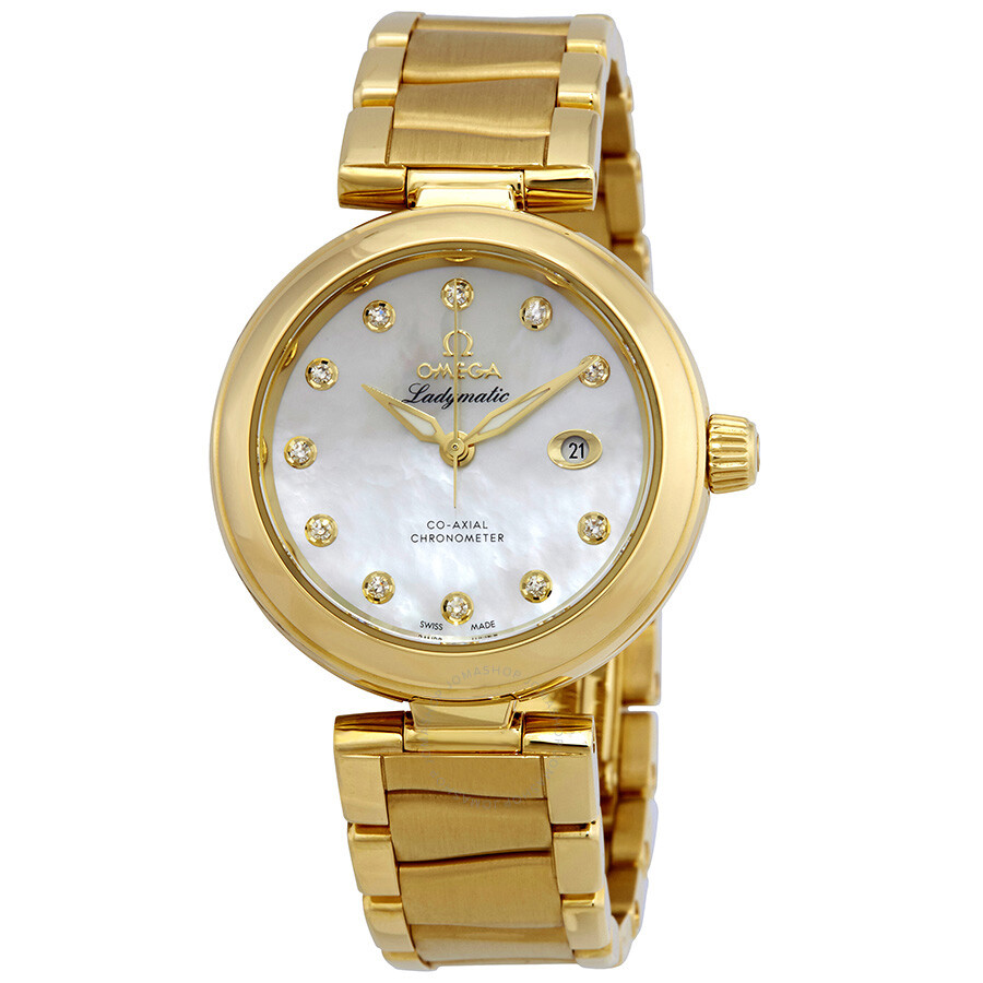 Pre-owned Omega De Ville 18kt Yellow Gold Ladies Watch 425.60.34.20.55.003