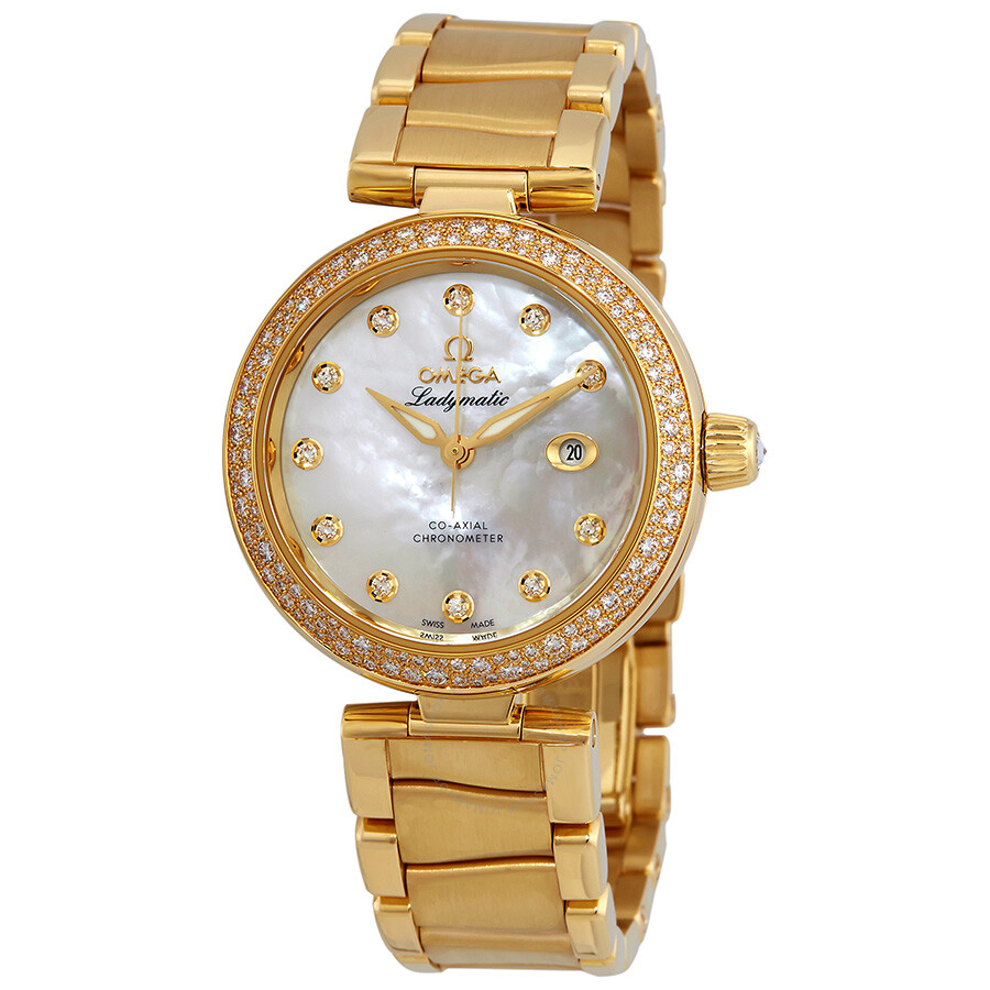 Pre-owned Omega De Ville 18kt Yellow Gold Ladies Watch 425.65.34.20.55.009