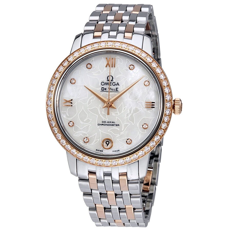 Pre-owned Omega De Ville Prestige Mother of Pearl Ladies Watch 424.25.33.20...