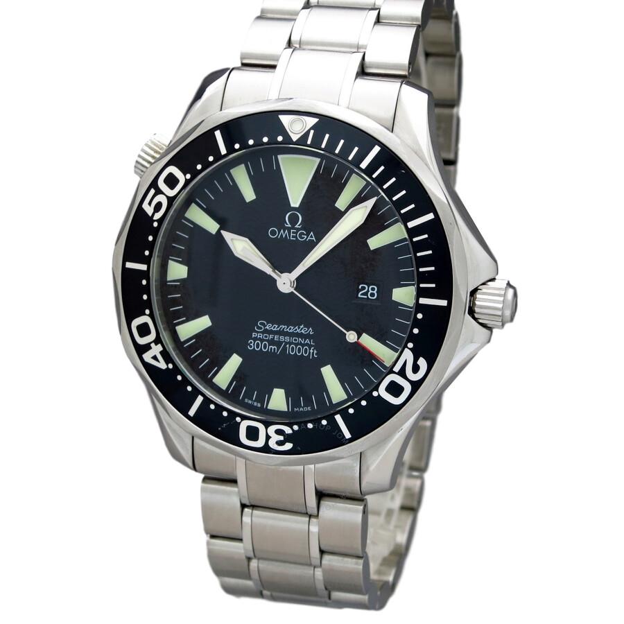 pre owned omega seamaster black dial men 39 s watch. Black Bedroom Furniture Sets. Home Design Ideas