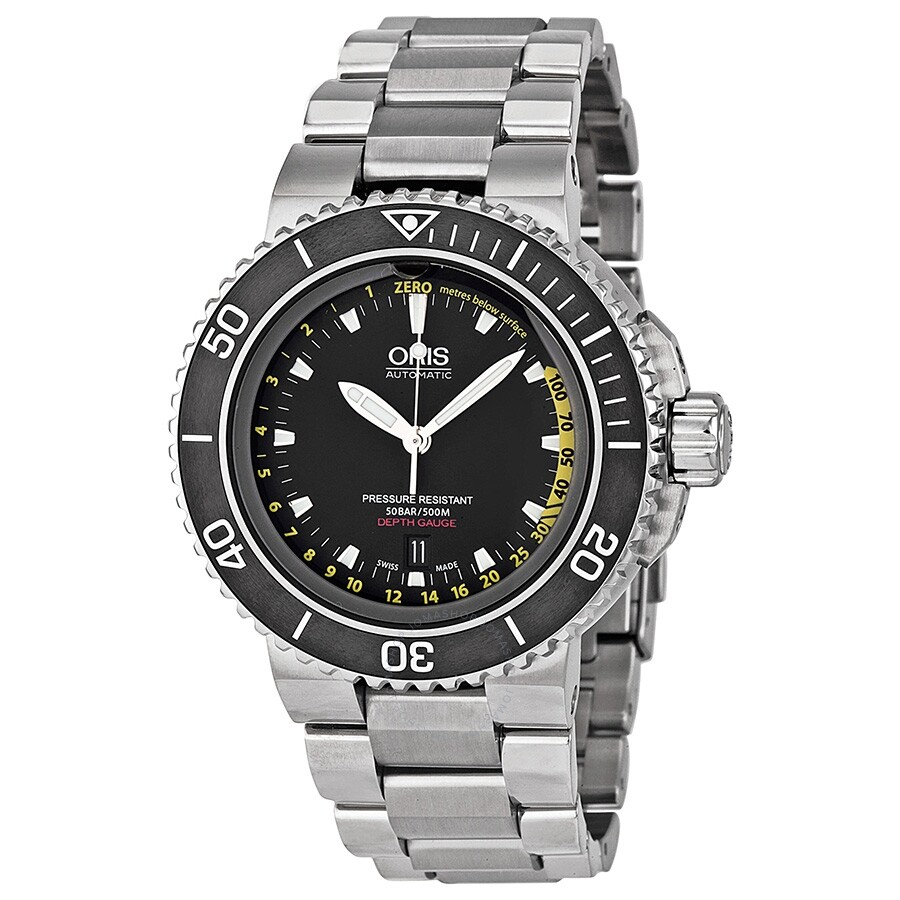 Pre-owned Oris Aquis Depth Gauge Automatic Black Dial Mens Watch 733-7675-41..