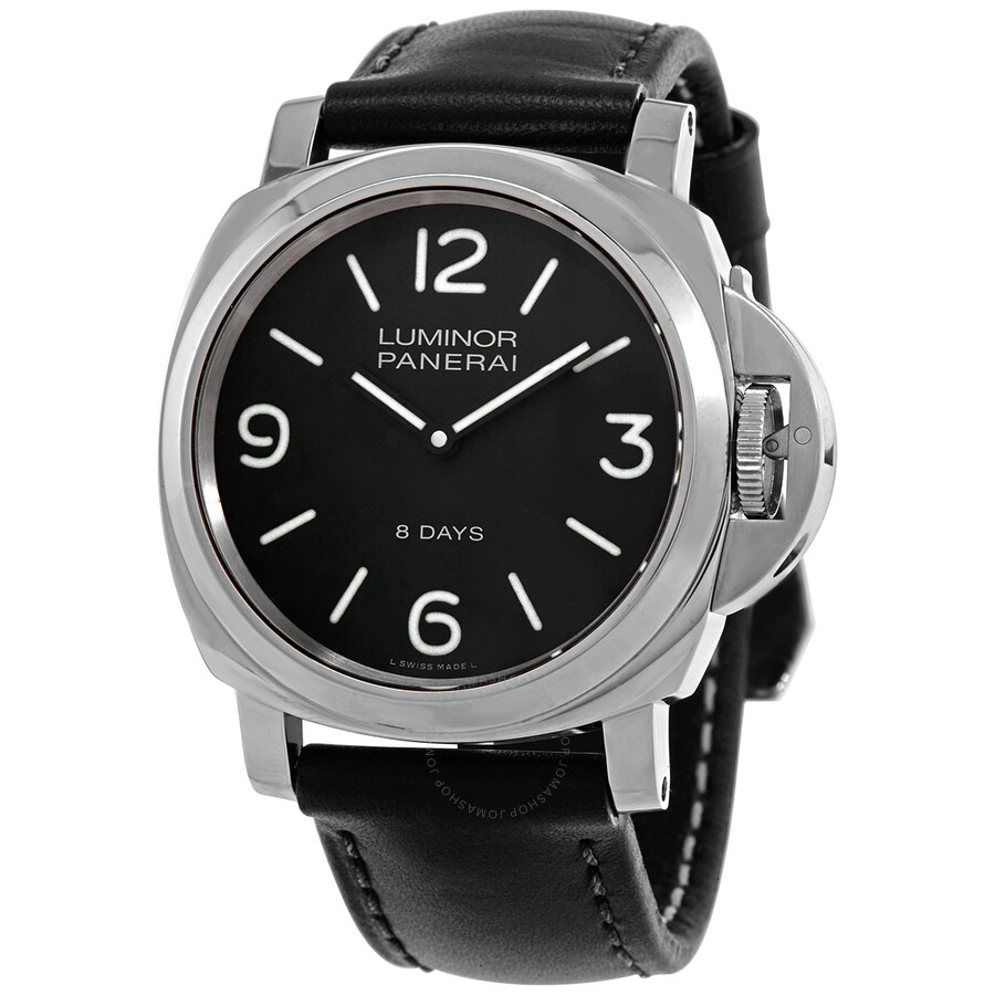 essential watch radiomir black main watches dial on base crocodile seal in panerai pam strap with days steel
