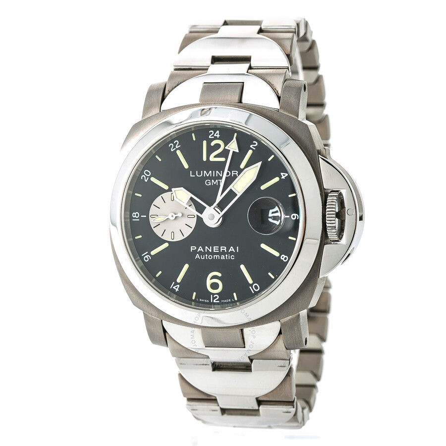 Pre-owned Panerai Luminor GMT Automatic Chronometer Black Dial Mens Watch PA..