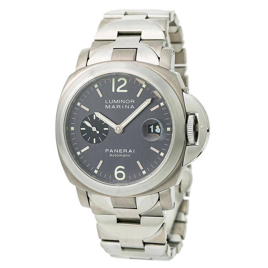 Pre-owned Panerai Luminor Marina Automatic Chronometer Black Dial Mens Watch..