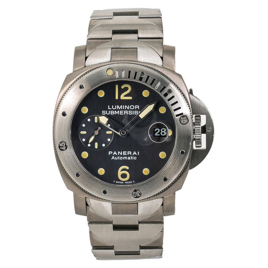 Pre-owned Panerai Luminor Submersible Automatic Chronometer Grey Dial Mens W..