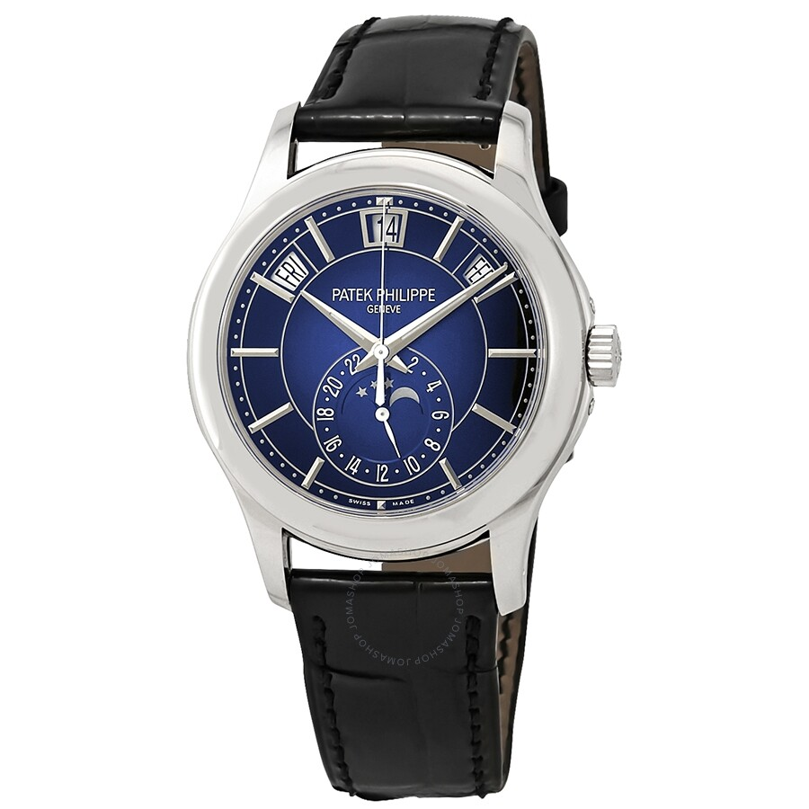Pre-owned Patek Philippe Complications Blue Sunburst Dial Automatic Mens Ann..
