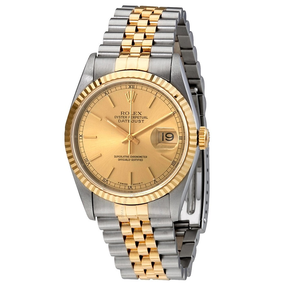 Pre-owned Pre-owned Rolex Oyster Perpetual Datejust Two-tone 18kt Gold And S..