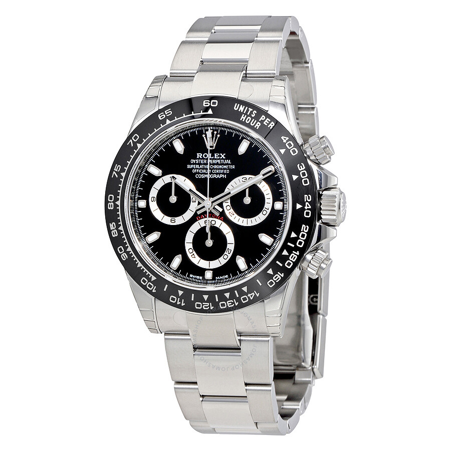 Pre owned rolex cosmograph daytona black dial oyster men 39 s watch 116500bkso cosmograph daytona for Rolex cosmograph daytona