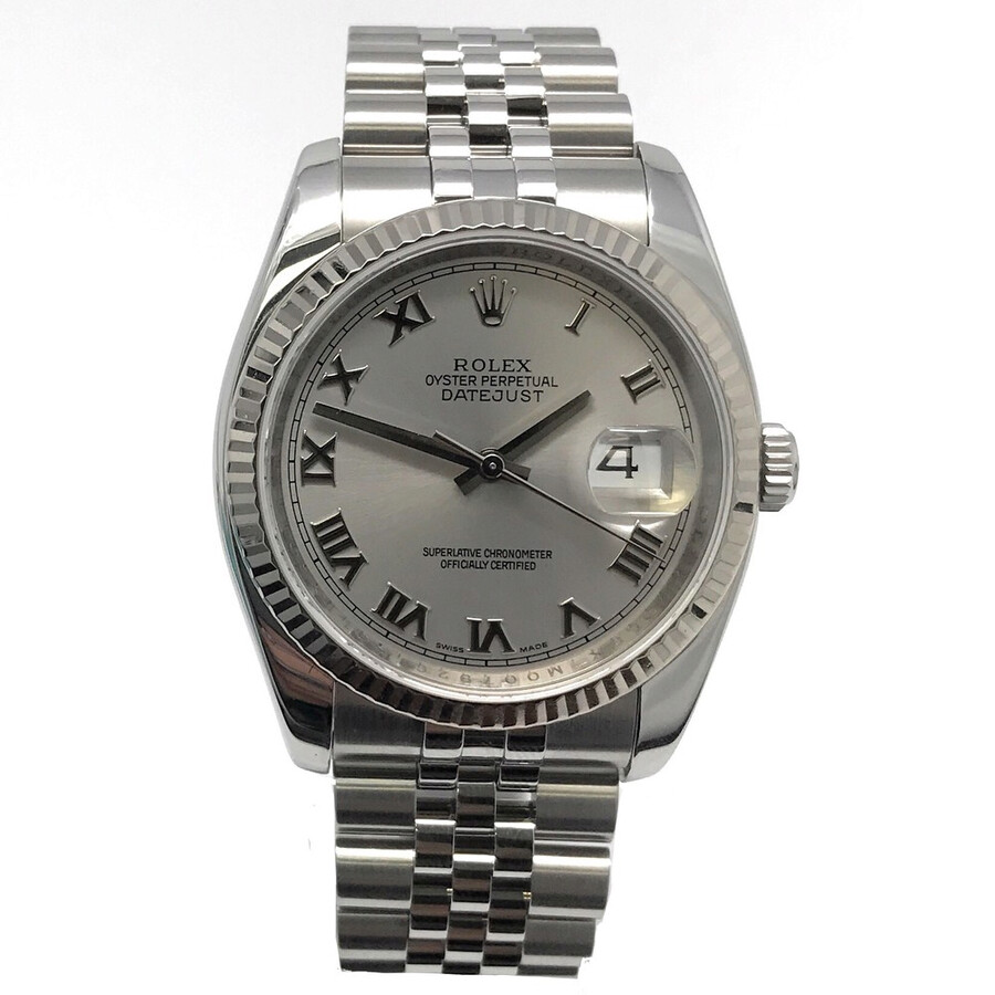 Pre-owned Rolex Datejust 36 Automatic Chronometer Silver Dial Mens Watch 116..