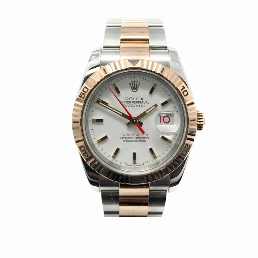 Pre-owned Rolex Datejust 36 Automatic Chronometer White Dial Mens Watch 1162..