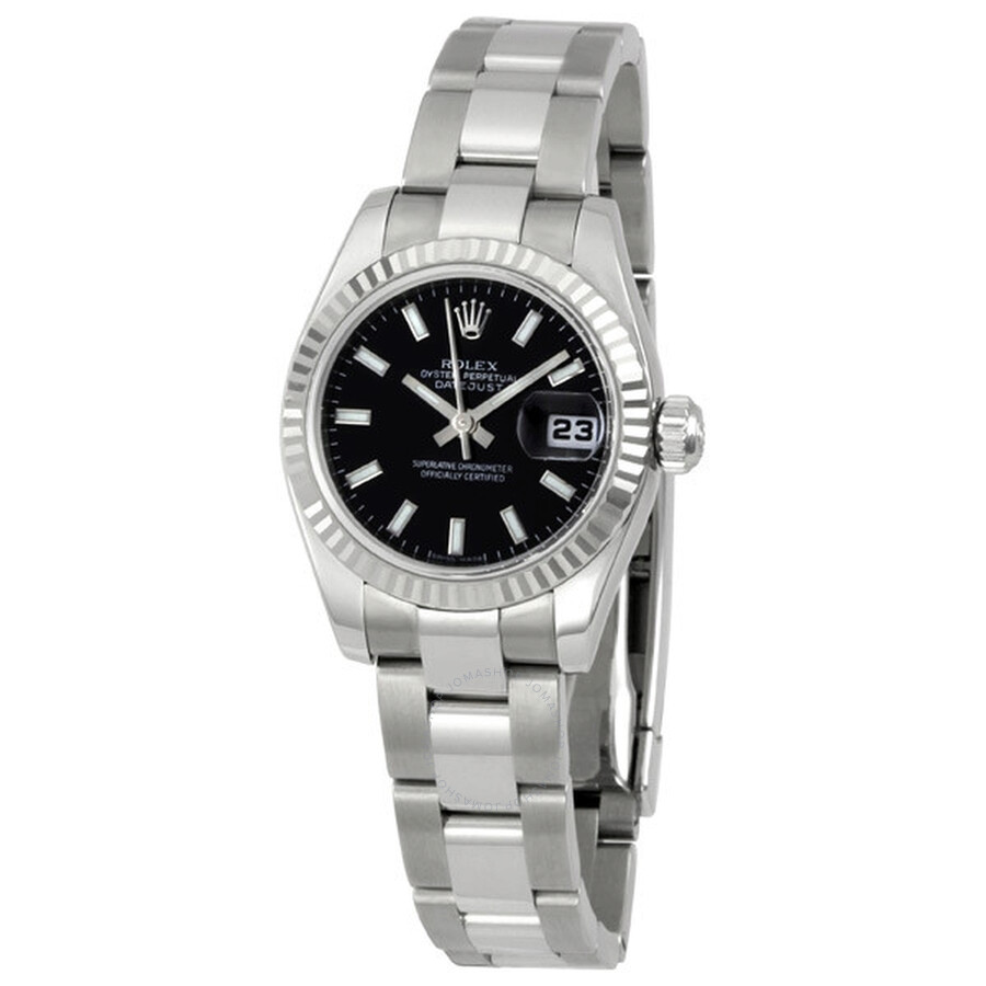 Pre-owned Rolex Datejust Automatic Chronometer Black Dial Ladies Watch 17917..