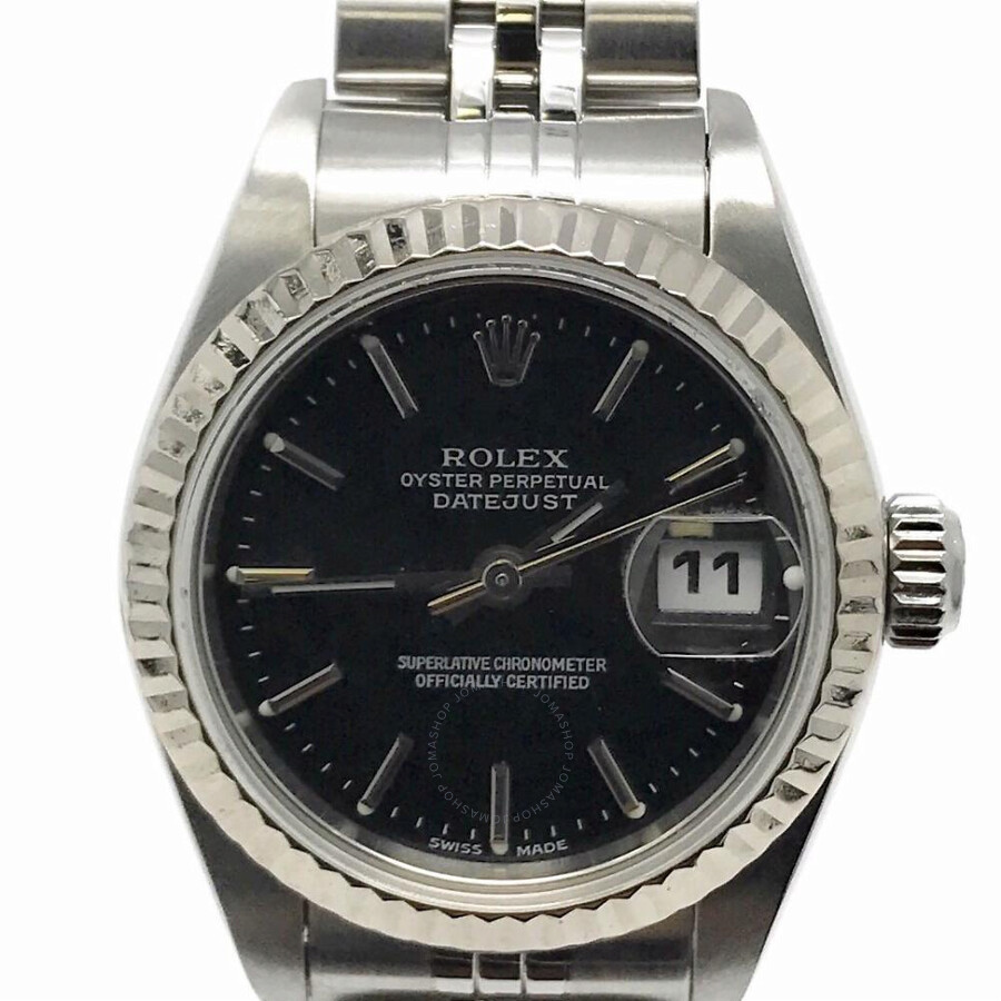 Pre-owned Rolex Datejust Automatic Chronometer Black Dial Ladies Watch 79174..