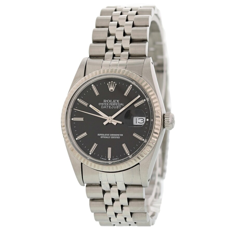 Pre-owned Rolex Datejust Automatic Chronometer Black Dial Mens Watch 16014 B..