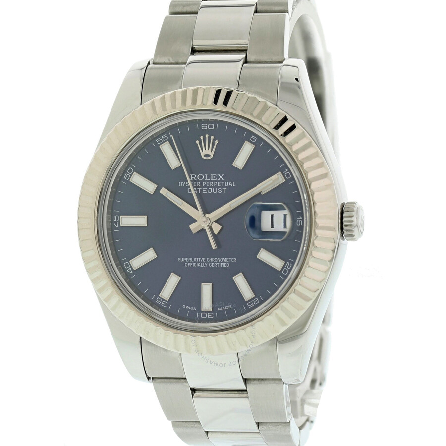 Pre-owned Rolex Datejust Automatic Chronometer Blue Dial Mens Watch 126334 B..
