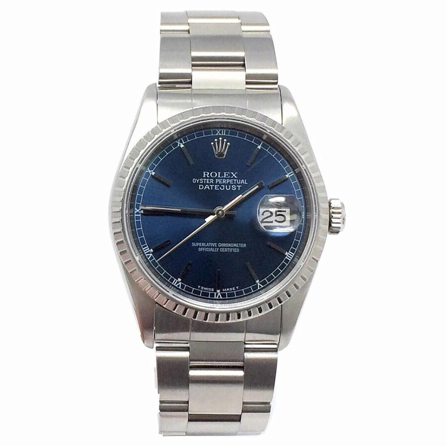 Pre-owned Rolex Datejust Automatic Chronometer Blue Dial Mens Watch 16220 BLSO