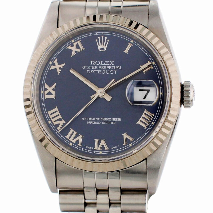 Pre-owned Rolex Datejust Automatic Chronometer Blue Dial Mens Watch 16234