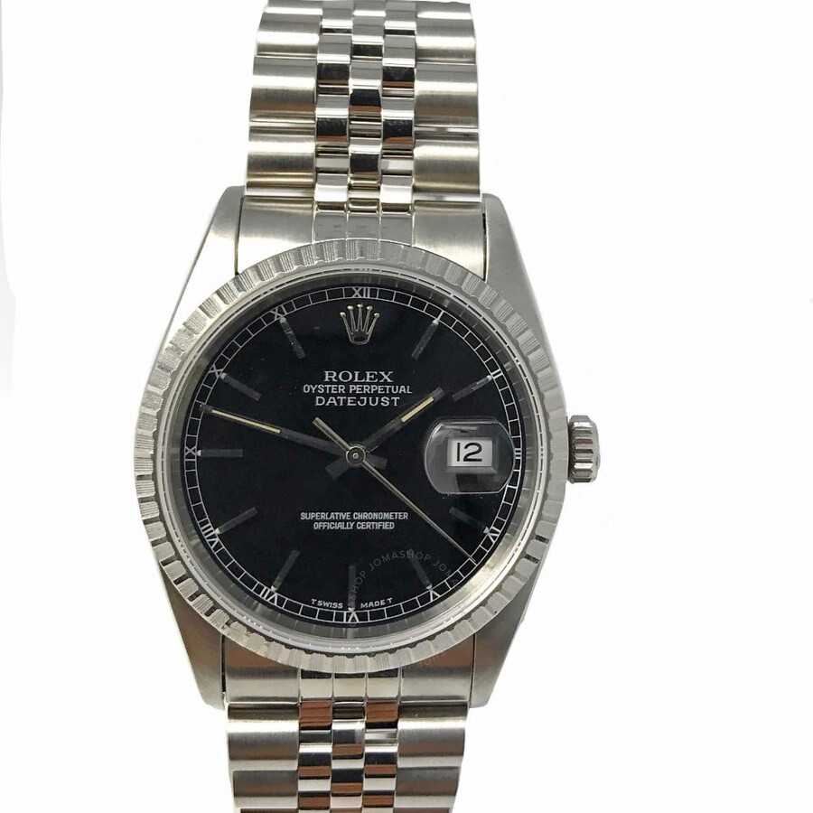 Pre-owned Rolex Datejust Automatic Chronometer Diamond Black Dial Mens Watch..