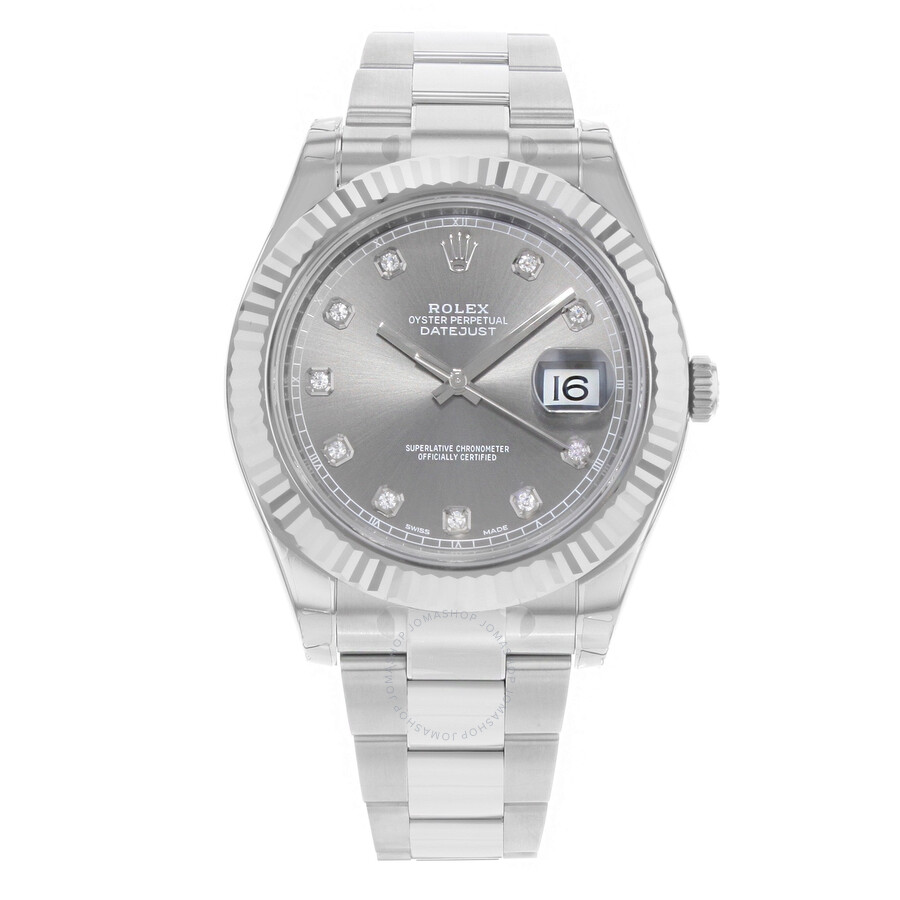 Pre-owned Rolex Datejust Automatic Chronometer Diamond Grey Dial Mens Watch ..