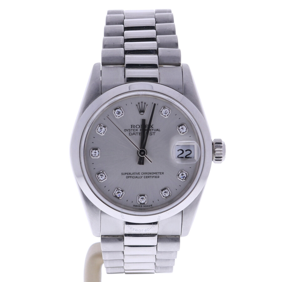 Pre-owned Rolex Datejust Automatic Chronometer Diamond Silver Dial Ladies Wa..