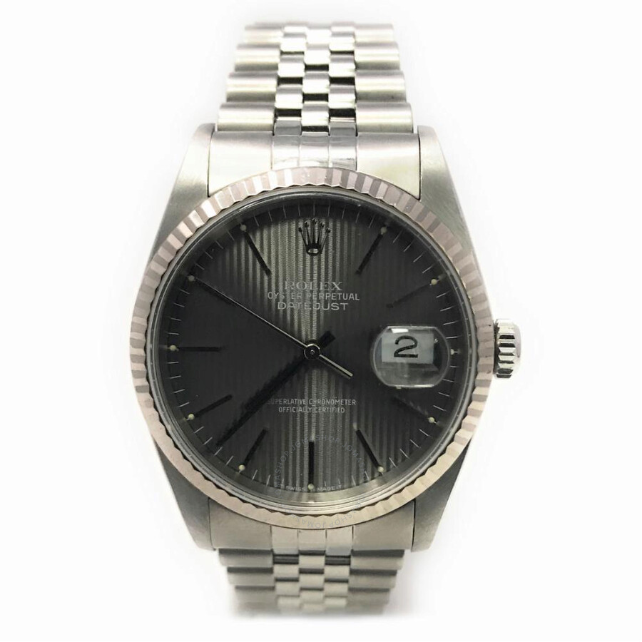 Pre-owned Rolex Datejust Automatic Chronometer Grey Dial Mens Watch 16234 GYSJ