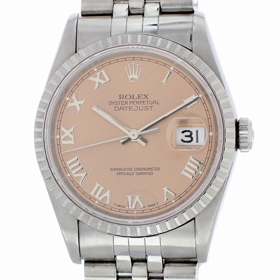 Pre-owned Rolex Datejust Automatic Chronometer Salmon Dial Mens Watch 16220