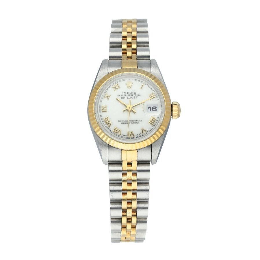 Pre-owned Rolex Datejust Automatic Chronometer White Dial Ladies Watch 69173..