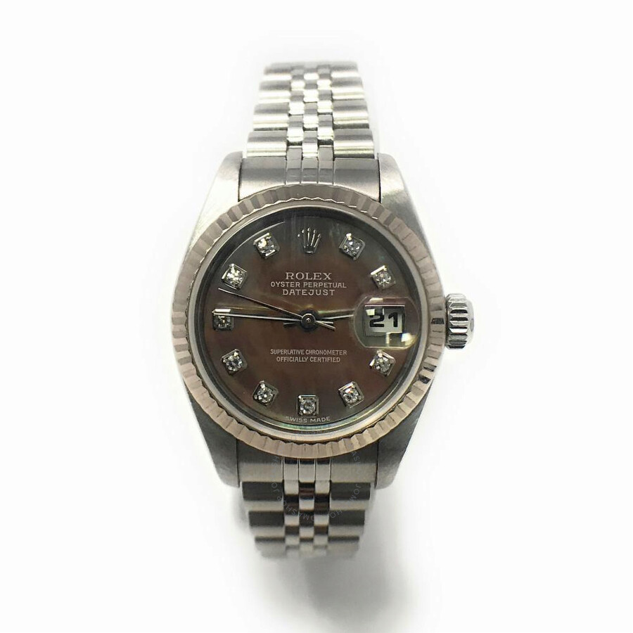 Pre-owned Rolex Datejust Automatic Diamond Mother of Pearl Dark Dial Ladies ..