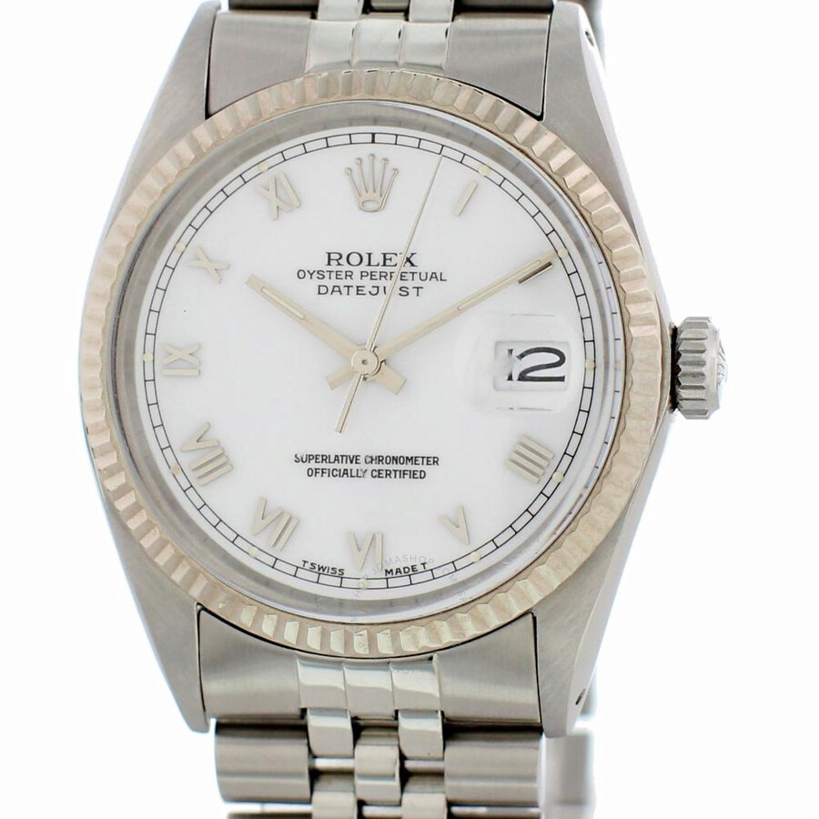 Pre-owned Rolex Datejust Automatic White Dial Mens Watch 16014