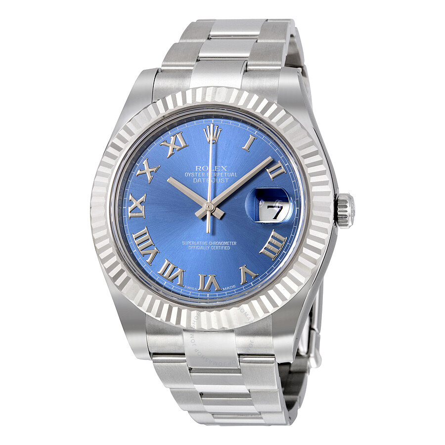 Pre-owned Rolex Datejust II Automatic Blue Dial Stainless Steel Oyster Brace..