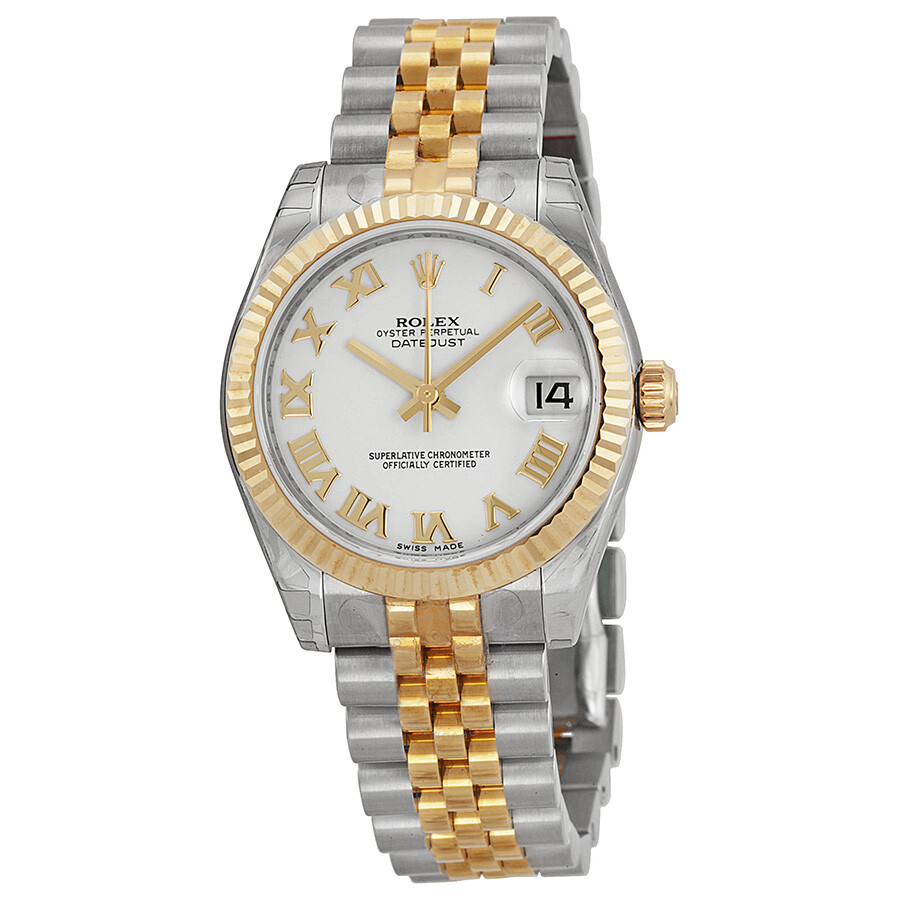 Pre-owned Rolex Datejust Lady 31 White Dial Stainless Steel and 18K Yellow G..