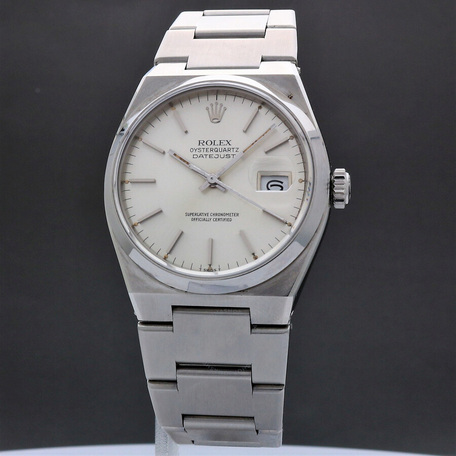 Pre-owned Rolex Datejust OysterQuartz Silver Dial Mens Watch 17000 SSO