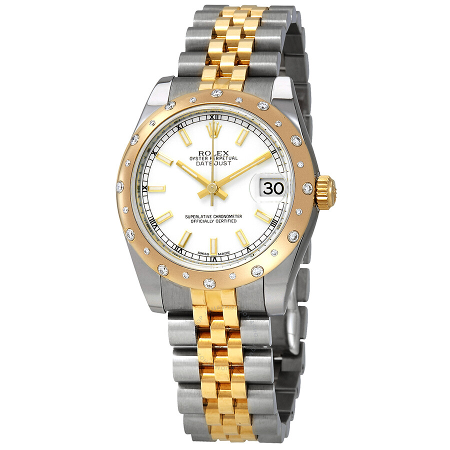 Pre-owned Rolex Datejust White Dial Automatic Ladies Steel and 18ct Yellow G..