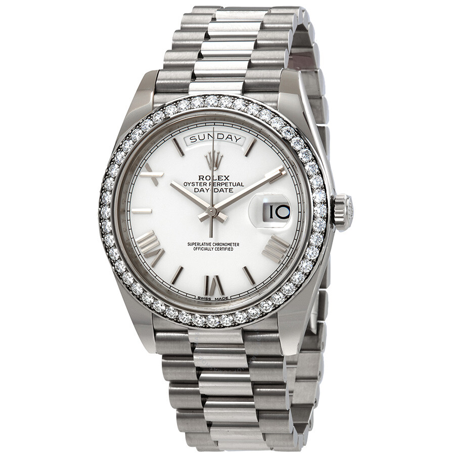 Pre-owned Rolex Day-Date 40 Automatic Diamond White Dial Mens President Watc..