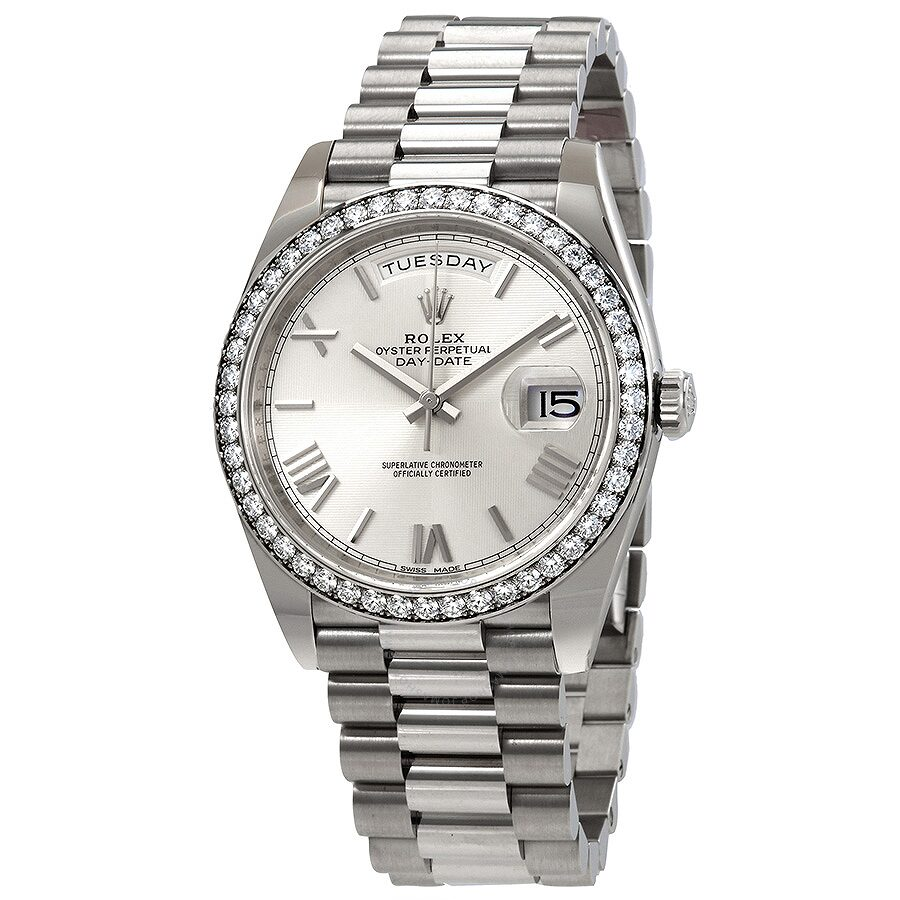 Pre-owned Rolex Day-Date Automatic Silver Dial Mens 18kt White Gold Diamond ..
