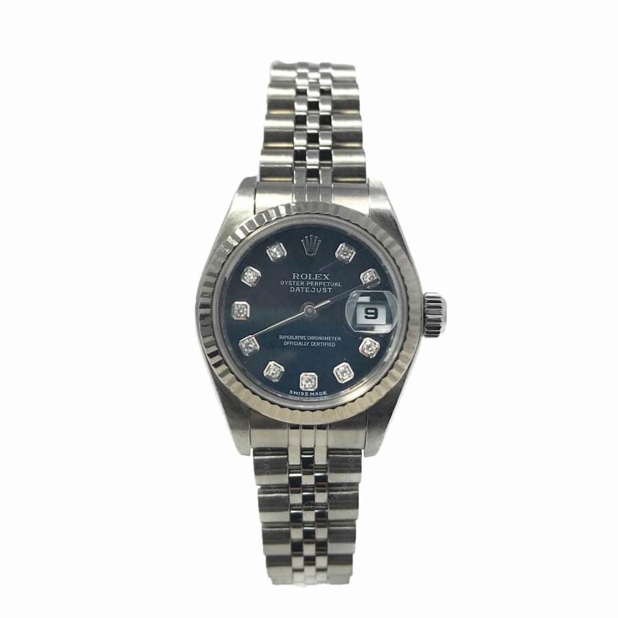 Pre-owned Rolex Lady Datejust 26 Automatic Chronometer Diamond Black Dial La..