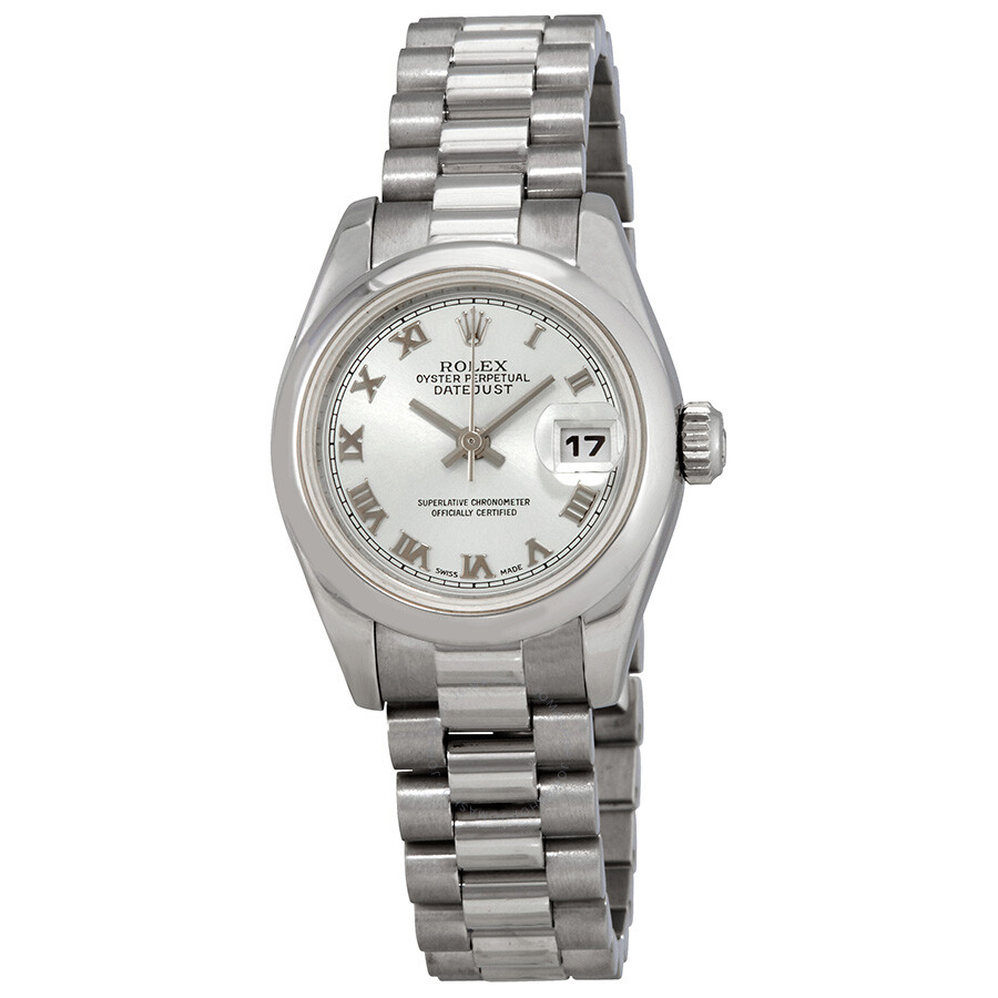 Pre-owned Rolex Lady-Datejust 26 Blue Dial Platinum President Automatic Ladi..