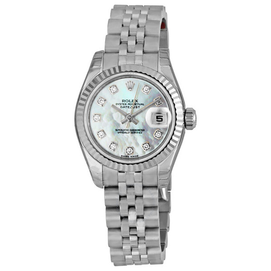 Pre-owned Rolex Lady Datejust 26 White Mother of Pearl with 10 Diamonds Dial..