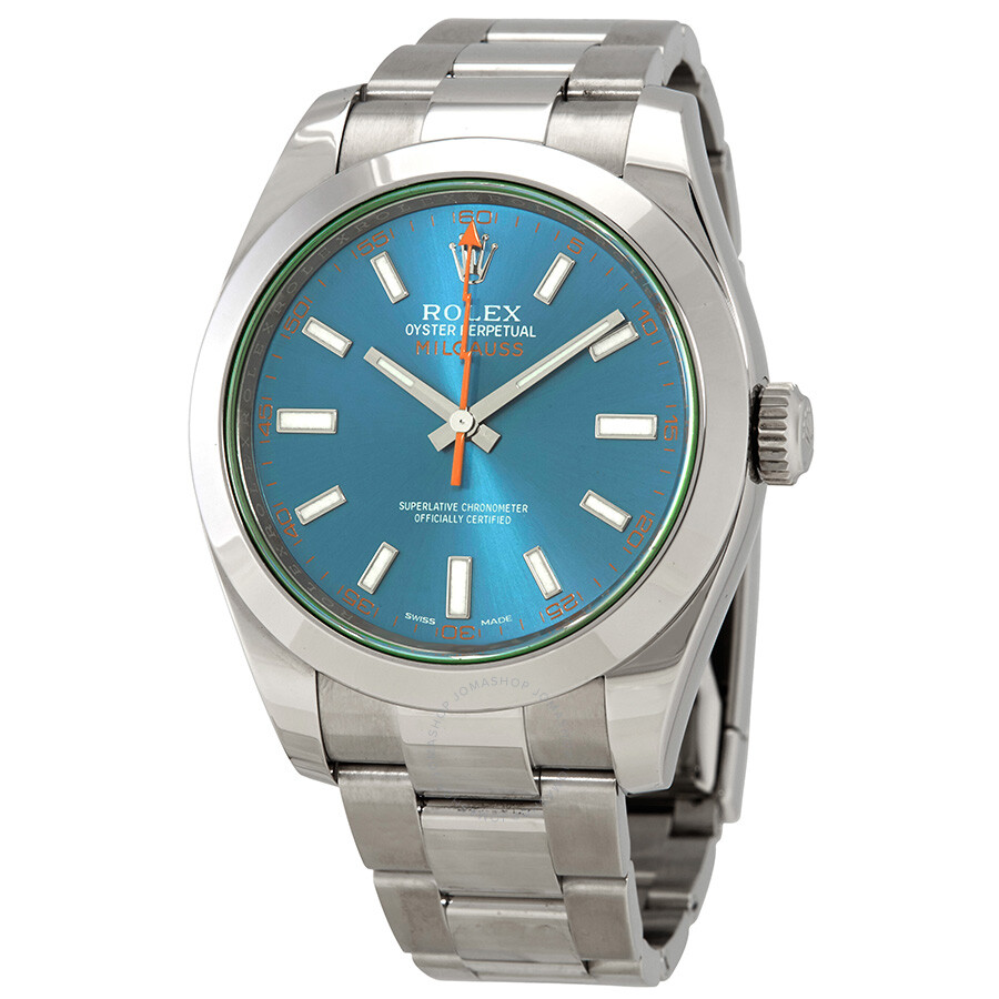 Pre owned rolex milgauss automatic blue dial stainless steel men 39 s watch 116400gv pre owned for Rolex milgauss