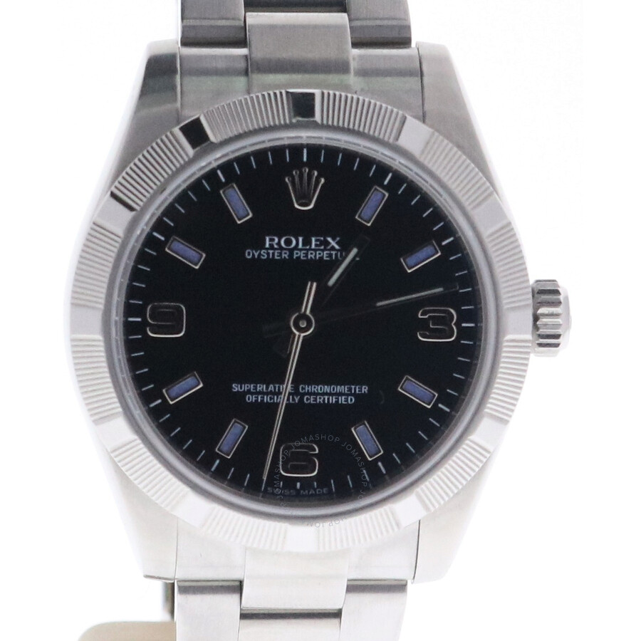 Pre-owned Rolex No Date Automatic Chronometer Black Dial Ladies Watch 177210..
