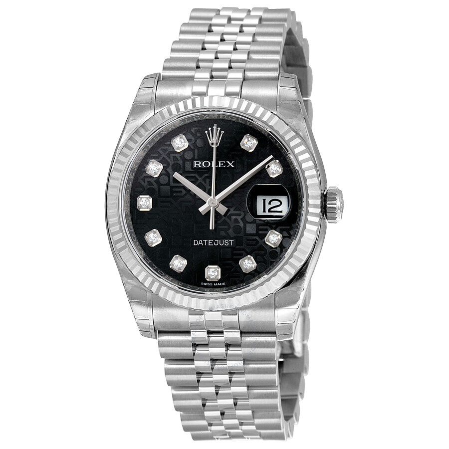 Pre-owned Rolex Oyster Perpetual 36 mm Black Dial Stainless Steel Jubilee Br..