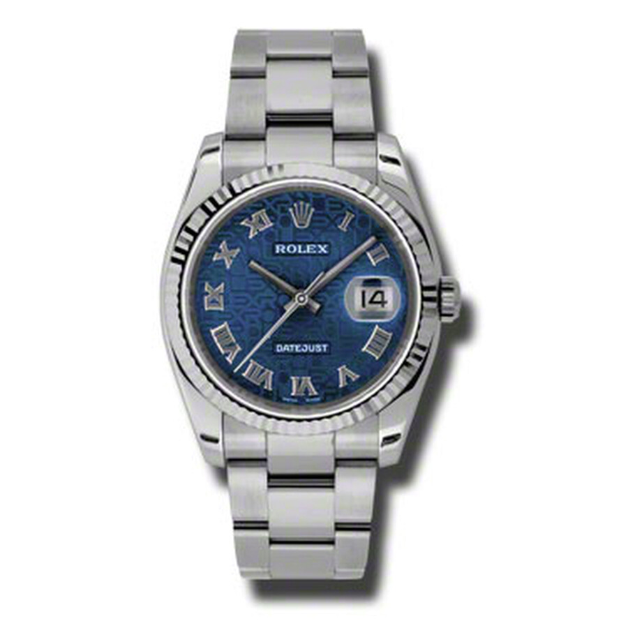 Pre-owned Rolex Oyster Perpetual 36 mm Blue Dial Stainless Steel Bracelet Au..