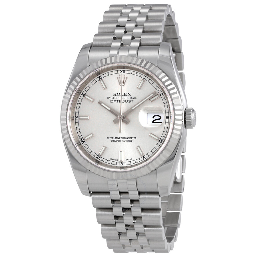 Pre-Owned Rolex Oyster Perpetual 36 mm Silver Dial Stainless Steel Rolex Jubilee Automatic