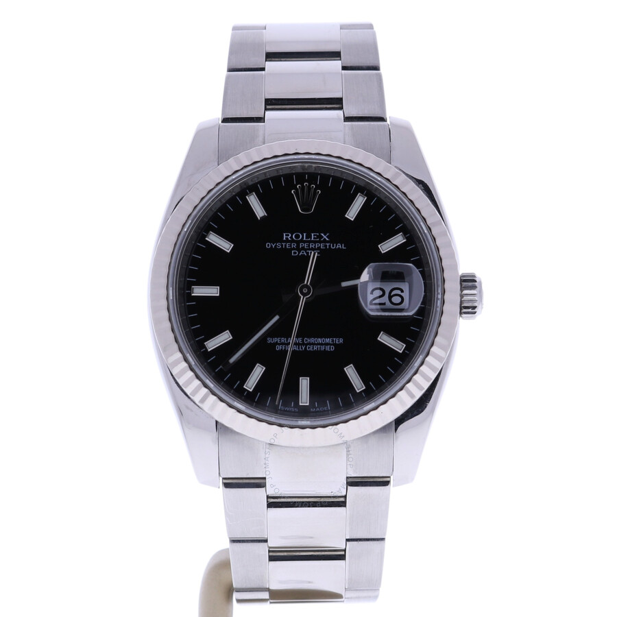 Pre-owned Rolex Oyster Perpetual Automatic Chronometer Black Dial Mens Watch..